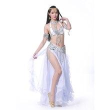 Живота Танцы костюм шифон 2 по бокам разрезы длинная юбка уха юбка с серебристой отделкой для Танцы Профессиональный Танцы одежда SF345