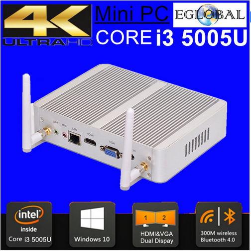 Intel Broadwell Mini PC Windows 10 Barebone Computer CPU Core I3 5005U Fanless PC Max 2.6GHz With HDMI VGA Lan 8G RAM 128G SSD