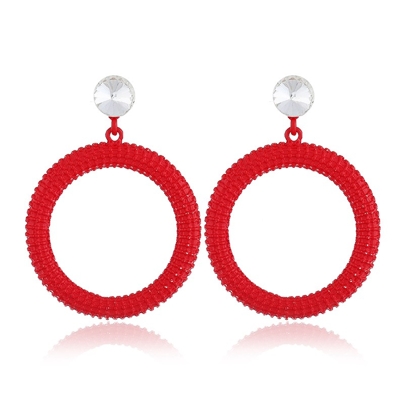Fashion Round Geometric Earrings For Women 7 Color Alloy Crystal Circle Drop Earrings Girls Statement Jewelry Party Bijoux Femme in Drop Earrings from Jewelry Accessories