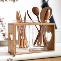Glass Chopsticks Containers with Wooden Holder Kitchen Spoon Container Japan Style Kitchen Storage Organizer Pots