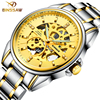 BINSSAW Mens Mechanical Skeleton Watches Fashion Stainless Full Steel Top Luxury Brand Gold 2017 Male Automatic