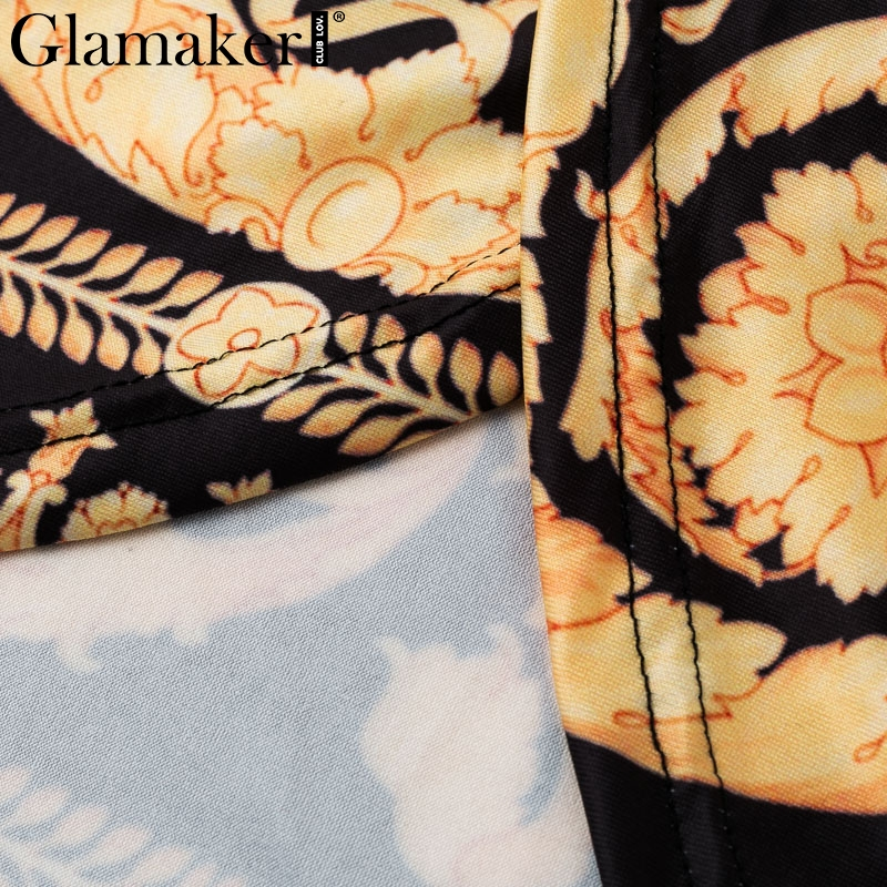 Glamaker Vintage split sexy boho dress Women autumn elegant print maxi dress long sleeve paisley 19 party club dress robe 7