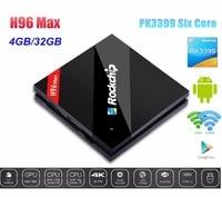 H96 Max Android 6.0 ТВ коробка rk3399 шесть основных cortex a53 4 г/32 г H.265 4 К * 2 H 2.4 г/5.8 ГГц Двойной Wi Fi 1000 м LAN USB3.0 Тип c