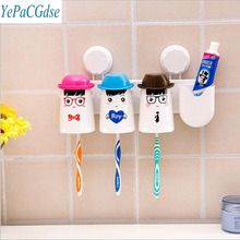 The new cartoon happy family of three sucker toothbrush holder  suit, Suction wall hanging  storage
