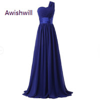 Cheap Long One Shoulder Bridesmaid Dress 2017 A Line Chiffon Elegant Purple Blue Mint Green