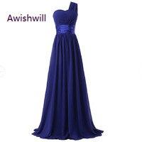 Cheap Long One Shoulder Bridesmaid Dress 2017 A Line Chiffon Elegant Purple Blue Mint Green