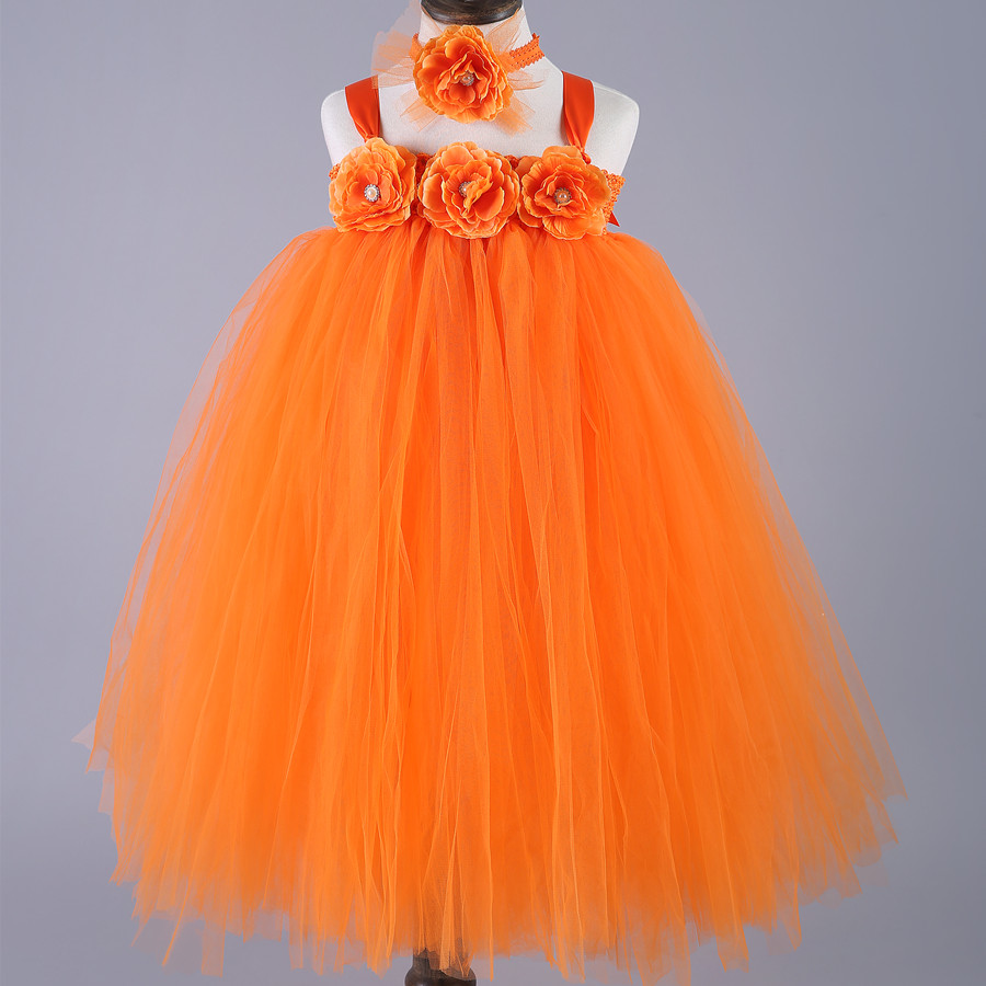 цены Orange Gold Elegant Flower Girl Tutu Dress Tulle Birthday Party Gown Custom Baby Kids Princess Pageant Wedding Formal Dresses
