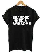 BEARDED INKED & AWESOME MENS GROOMING TATTOO BEARD T SHIRTFashion Design Free Shipping  Mens Shirts Fashion