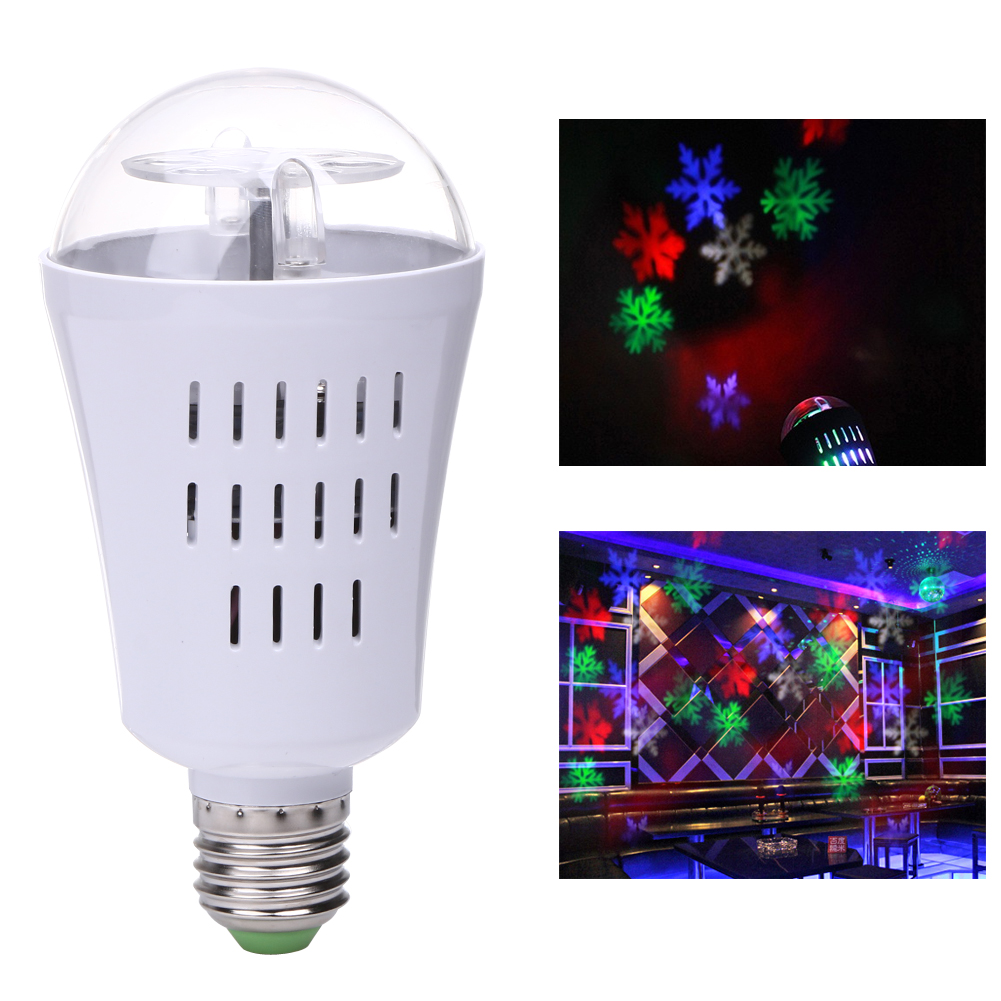 Professional E27 4W LED Projection Rotating Stage Bulb White/RGB Snowflake Projector Christmas Light for Disco Party DJ KTV