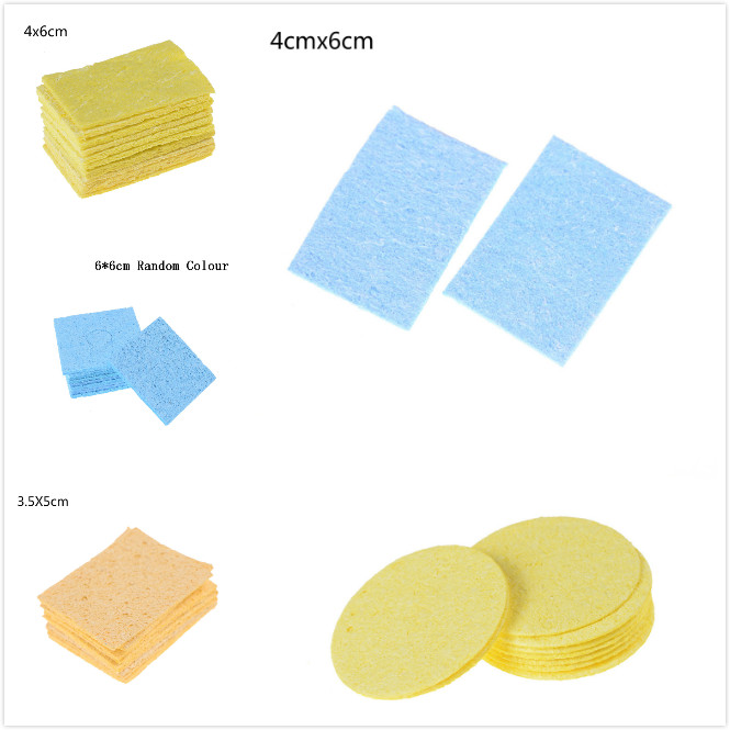 5/10pcs High Temperature Enduring Condense Electric Welding Soldering Iron Cleaning Sponge Yellow BlueWelding Accessories