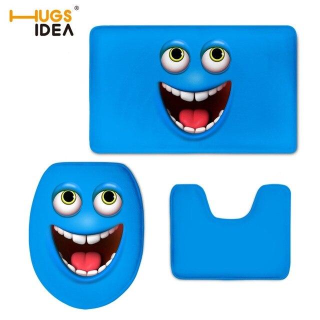 HUGSIDEA Kreative Smiley 3D Emoji Wc Sitzbezug Set Bad Boden Rutschfeste Matten 3pce Home