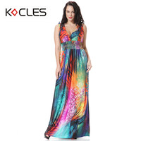 Plus Size 5 6 7XL Women Summer Holiday Bohemian Beach Sexy Modest Maxi Tunic Embroidery Print