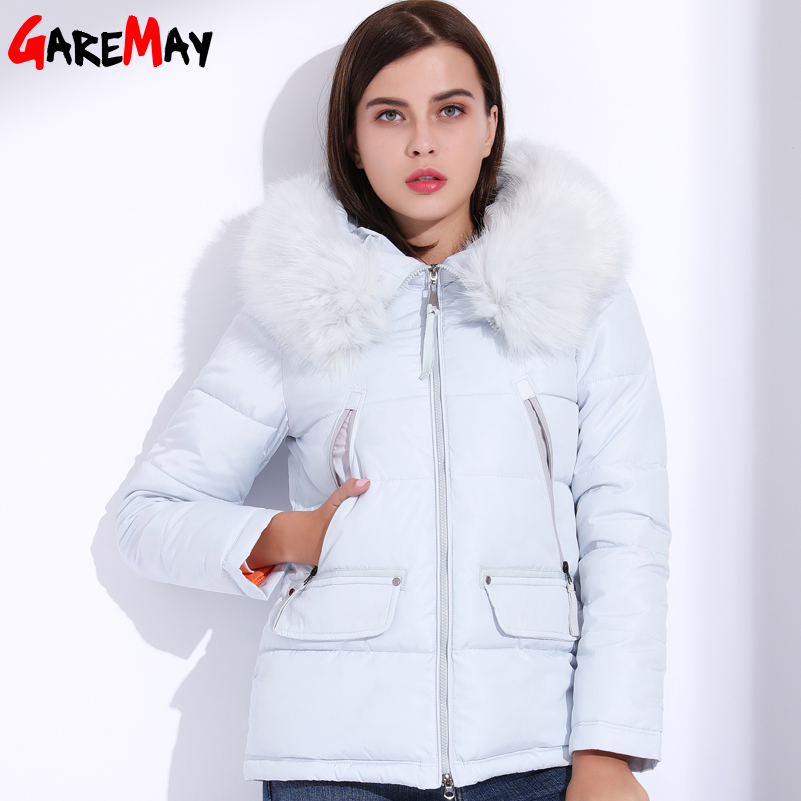 GAREMAY Winter Women's Jacket Fur Down Cotton Coats For Women Plus Size Hooded Parka Short Slim Warm Big Fur Jackets Female Coat 2017 new women winter jacket long solid color fur hooded slim big size female cotton coat wadded warm parka outerwear ok1006