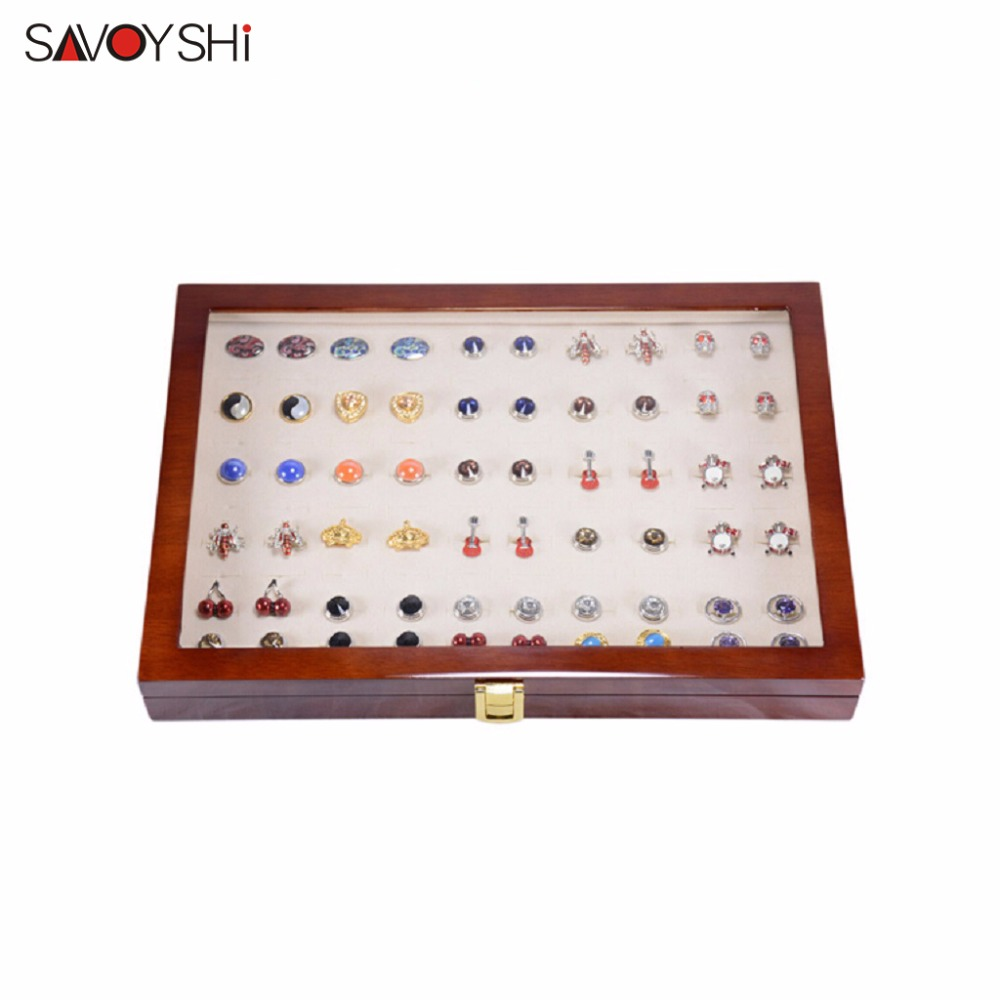 350x240x55mm 50 pairs assembly  Luxury Glass Cover Cufflink storage Gift Box Painted Wooden Authentic Jewelry display box
