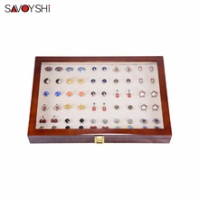 350x240x55mm 50 pairs assembly  Luxury Glass Cover Cufflink storage Gift Box Painted Wooden Box Authentic Jewelry display box цена 2017