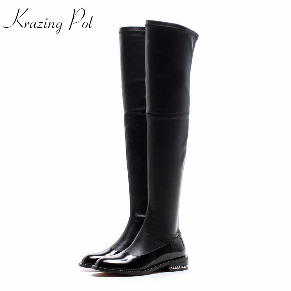 Krazing Pot cow leather gladiator round toe Hollywood European thigh high boots metal chains streetwear over-the-knee boots L86