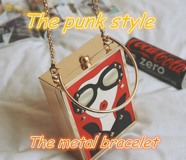 New 2017 Punk Women printed Evening bag Luxury Handbag Famous Brand Rock Style Female Flower Tote Evening bag