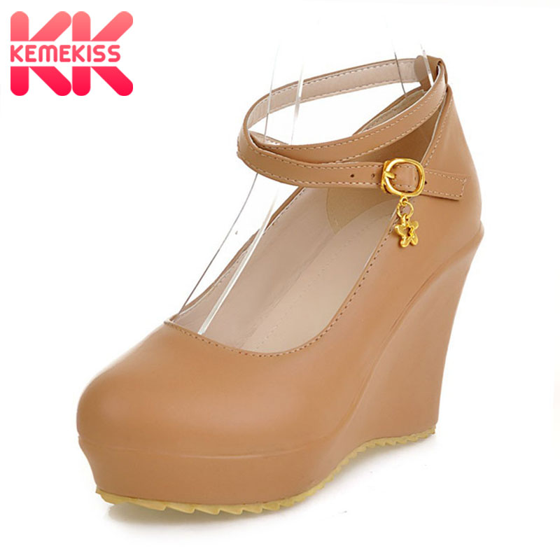 KemeKiss free shipping high heel wedge shoes platform fashion women dress sexy pumps heels P12274 hot sale EUR size 34-43 coolcept free shipping genuine leather quality high heel wedge sandals women fashion platform heels sandal r4222 eur size 34 39