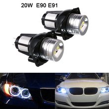 2Pcs 20W LED Angel Eyes Light Headlight Bulbs 1200LM Ring LED Light Halo Marker Fit for 05-08 BMW E90 E91 стоимость