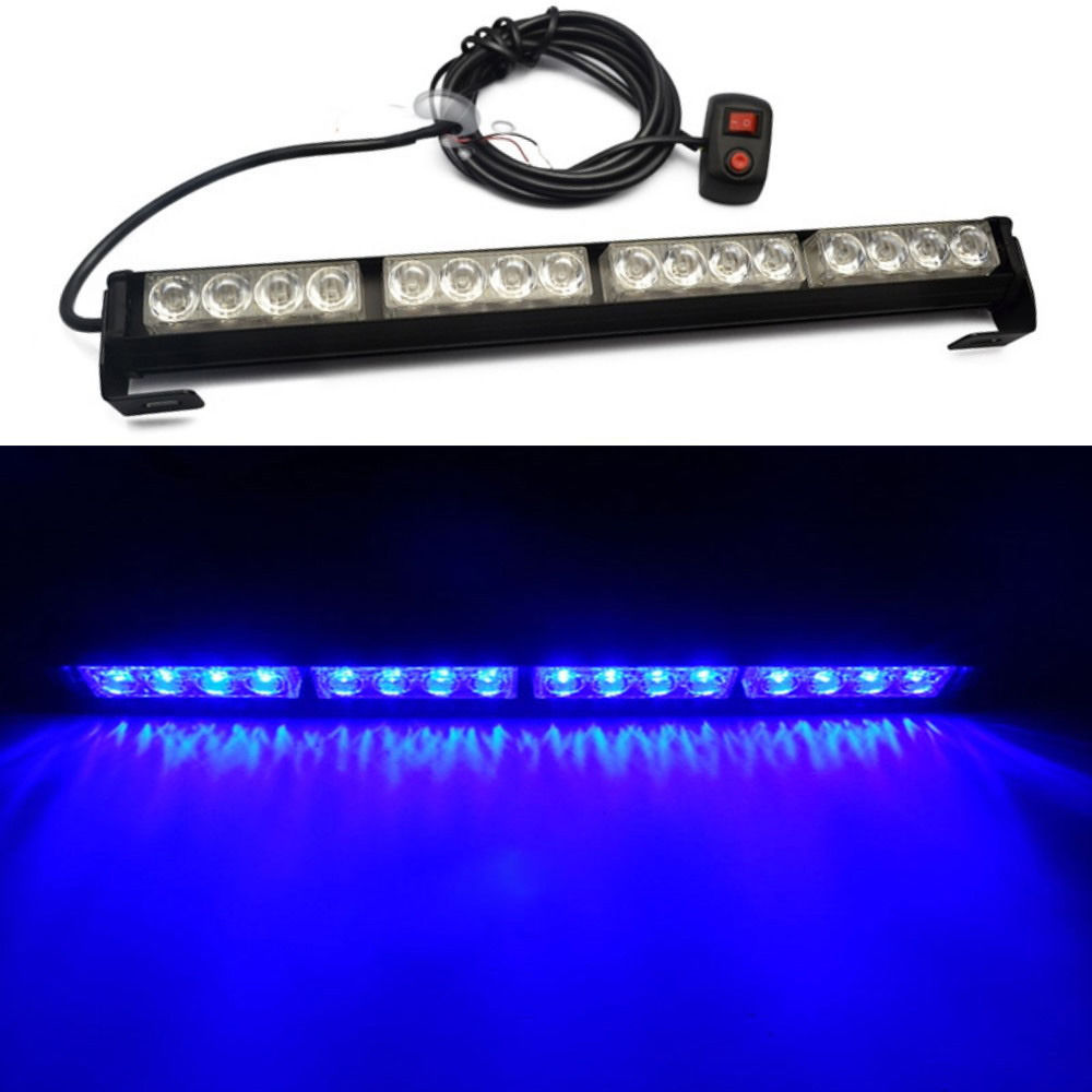 CYAN SOIL BAY 16 LED BLUE Emergency Warning Light Bar Traffic Vehicle Advisor Strobe Flash Lamp