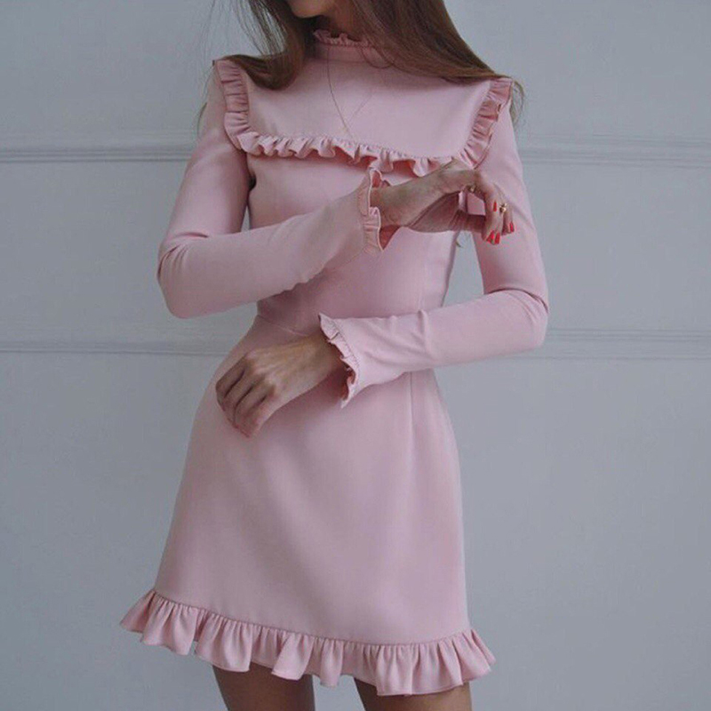2017-Autumn-Women-Fashion-Ruffles-Dress-Casual-Turtleneck-Butterfly-Sleeve-dresses-Elegant-Party-Long-sleeve-female