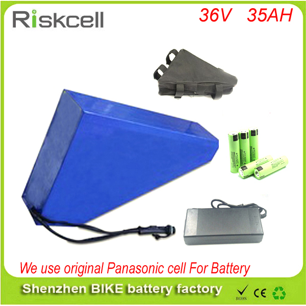 Triangle Battery 36V 35AH Electric Bike lithium battery pack 36V 1000W Ebike battery with 42v 2A Charger For Panasonic cell free customs taxe 36v 1000w triangle e bike battery 36v 40ah lithium ion battery pack with 30a bms charger for panasonic cell