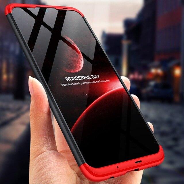 Dla Huawei P Smart 2019 360 stopni pełna ochrona etui z twardego plastiku dla Huawei P Smart 2019 POT LX3 Case szkło hartowane