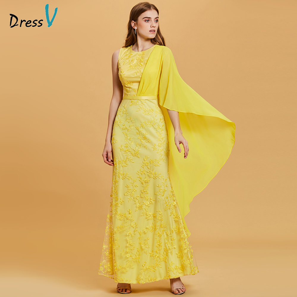 Dressv daffodil long   evening     dress   cheap scoop neck lace appliques sheath wedding party formal   dress     evening     dresses