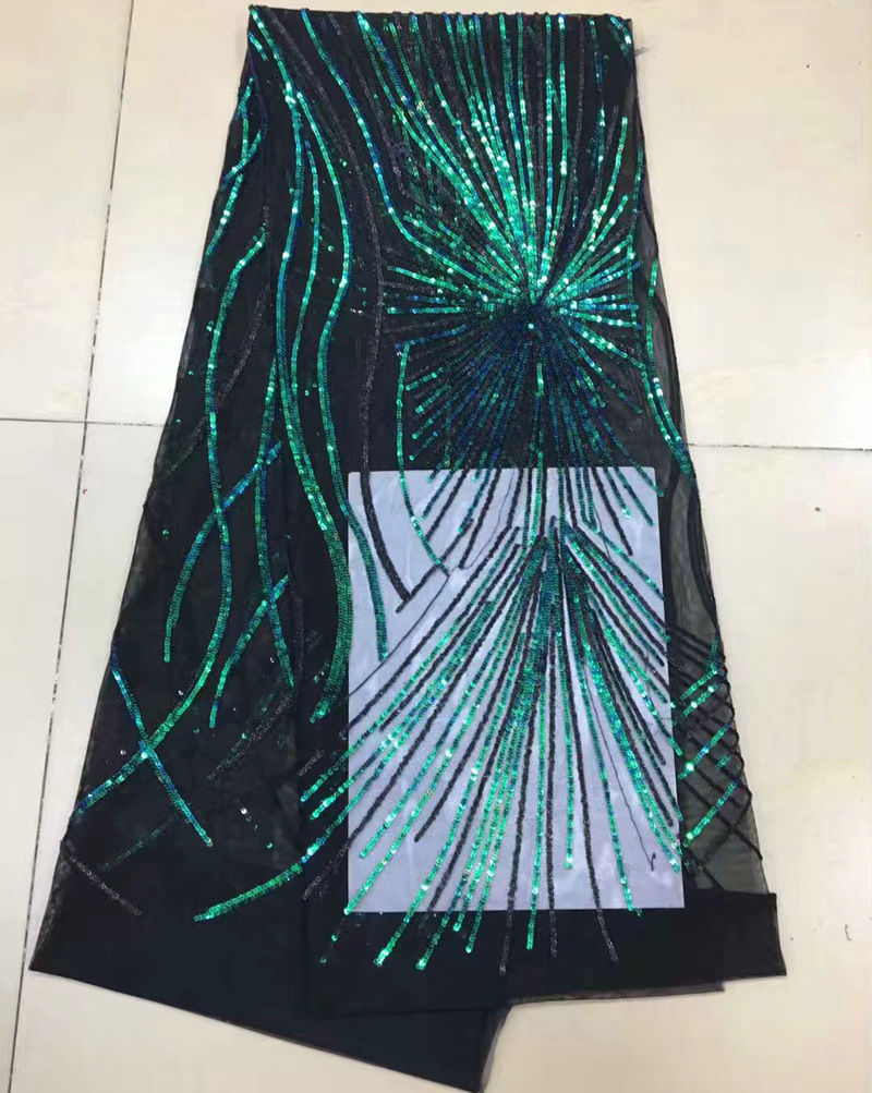 Free shipping (5yards/pc) shining African French net lace fabric with lots of green and blue sequins for party dress  FNJ54Free shipping (5yards/pc) shining African French net lace fabric with lots of green and blue sequins for party dress  FNJ54