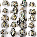 5Pcs/Lot Wholesale Vintage Women Jewelry New Ring Smash Shell Paillette Setting Luxury Shining Silver Plated CZ Rings For Women