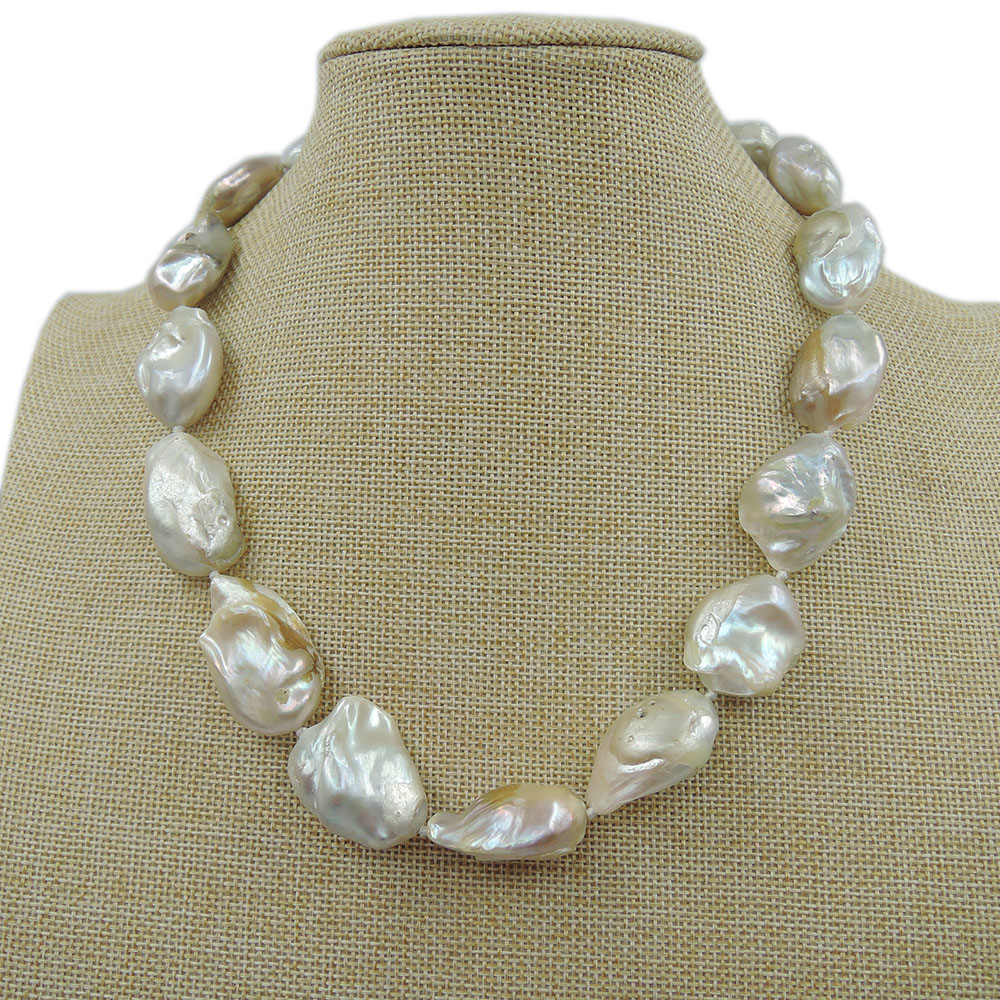100%  FRESH-WATER Baroque PEARL NECKLACE-good quanlity