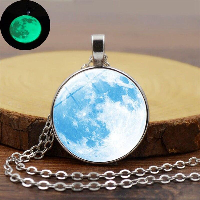 Retro Jewelry Light Blue Galaxy Planet Glass Cabochon Pendant Necklace Handmade DIY Silver Chain Luminous Moon Necklace Women