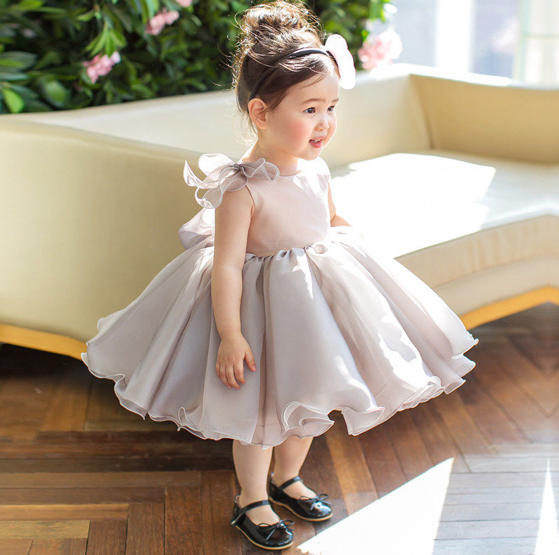 Princess Kids Girls Ball Gown Dress Summer 2018 New Children's Mesh Clothing With Bow Lovely Birthday Party Vestidos For Kids S4 цены онлайн