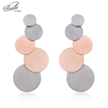 Badu Rose Gold Earring Long Stainless Steel Women Punk Trendy Earrings Unique Design Scratches Cool Jewelry 5 Circles Charming