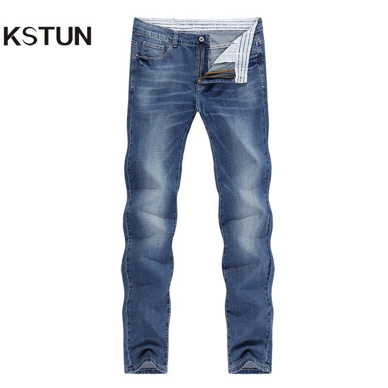 KSTUN Men Jeans Business Casual Summer Stretch Light Blue Slim Straight  Denim Pants Jean Homme Quality Jeans Man Big Size 40