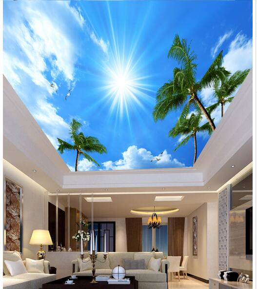 Custom photo 3d wallpaper Non-woven wall sticker 3 d Coconut trees sky clouds seagull ceiling murals decoration painting 3d room ceiling murals wallpaper custom photo non woven the unicorn dove in the sky decoration painting 3d wall murals wallpaper
