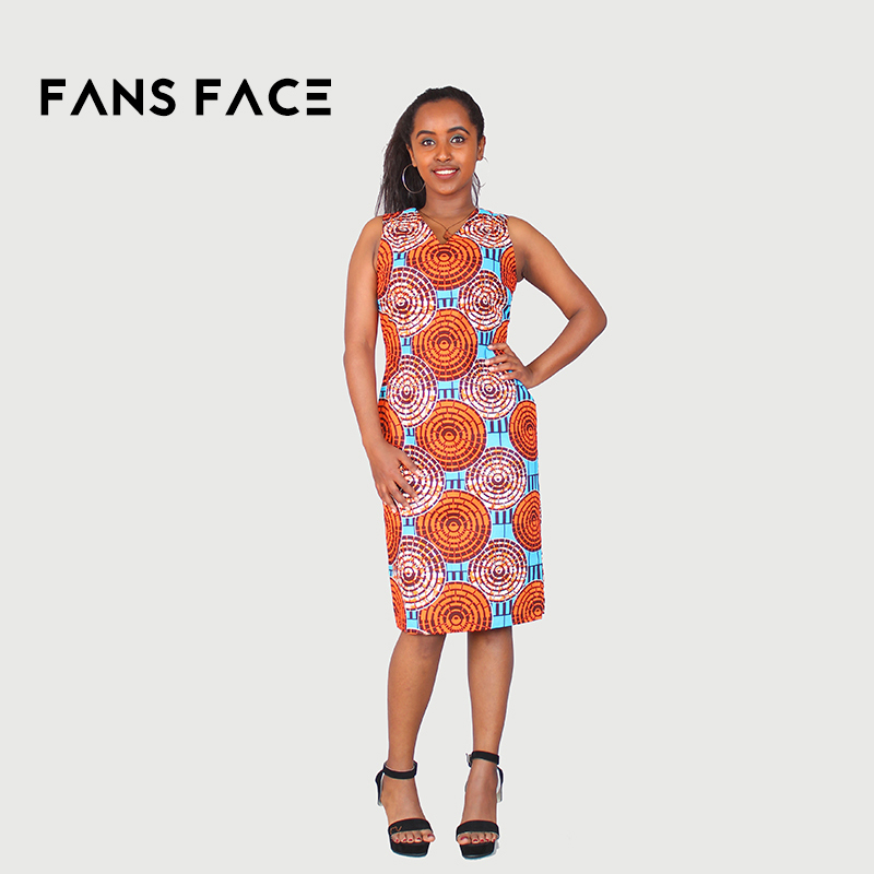 FANS FACE 2018 African Women Fashion 5XL Dresses Wax Print
