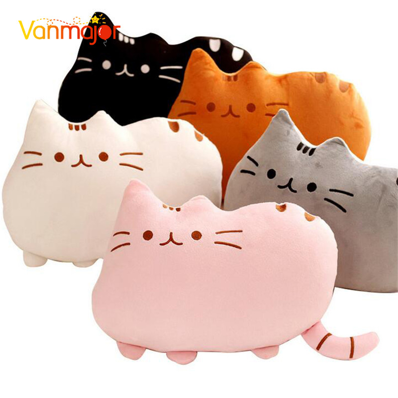 Vanmajor 25/40cm Kawaii Cat Cushion Stuffed Plush Animal Doll Pillow Cute Toys Birthday Gifts For Children Kids Girl Brinquedos