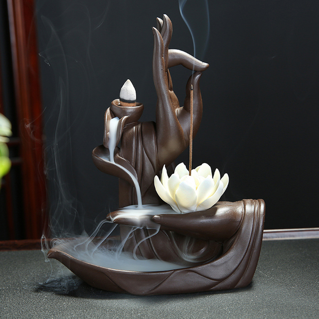 Ceramic Backflow Incense Burner Tathagata Buddha Lotus Incense Cones Stick Holder Smoke Waterfall Creative Home Bouddha Decor