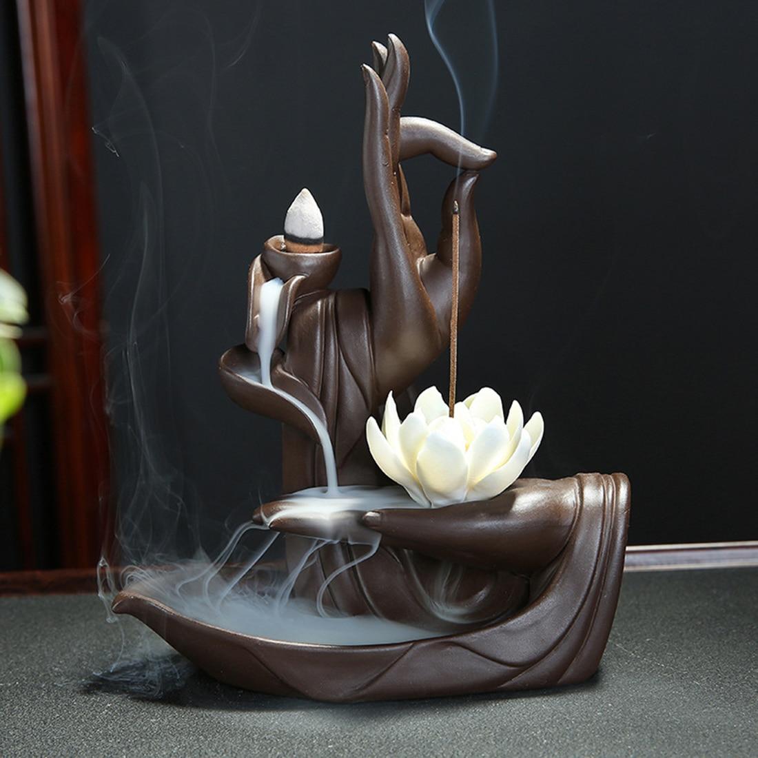 Il Riflusso di ceramica Bruciatore di Incenso Buddha Tathagata di Loto Incenso Coni Stick Holder + 10 pz Cono di Incenso Incenso Casa Creativa Bouddha Decor