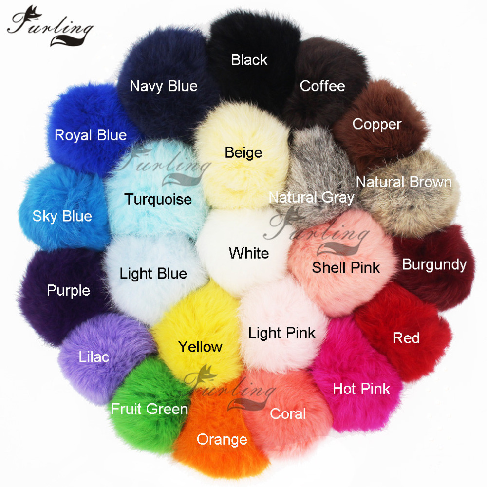Furling DIY 9/10 Cm(3.5/4 Inches) Real Rabbit Fur Pompoms Ball For Keychain Bag Charm Knitted Hat Accessories