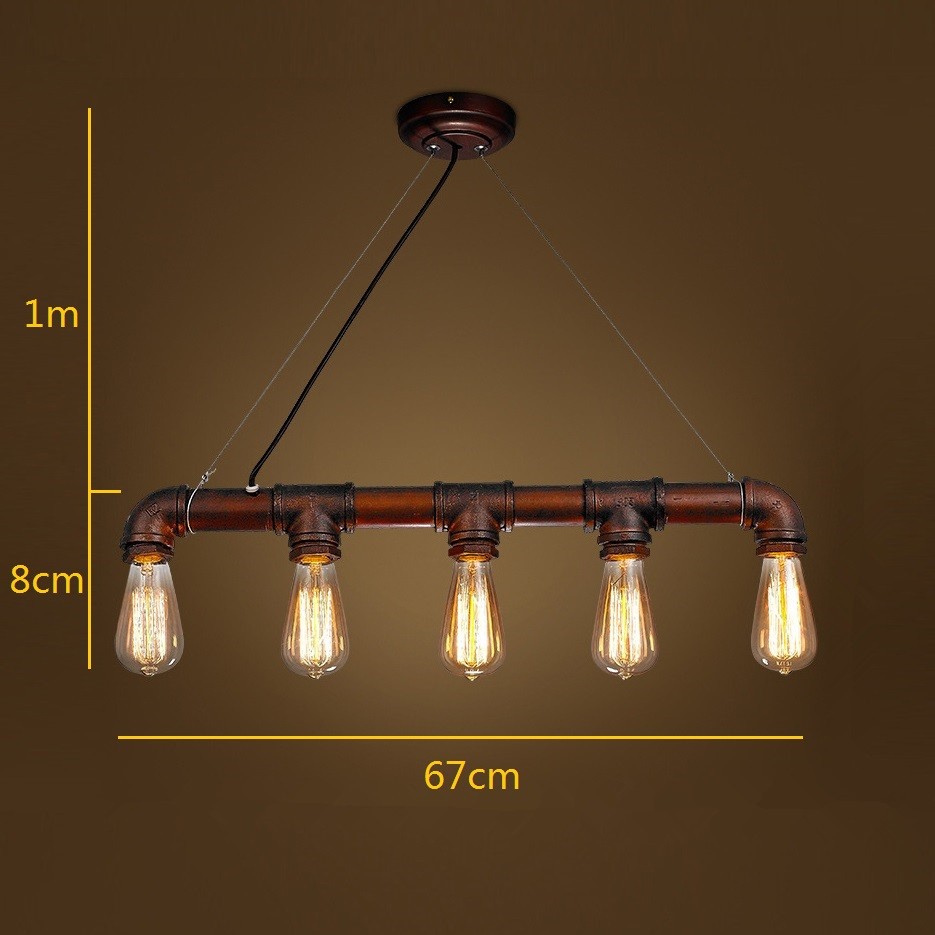 Brown Antique Pendant Lights Water Pipe Iron Lighting Office Hotel ...