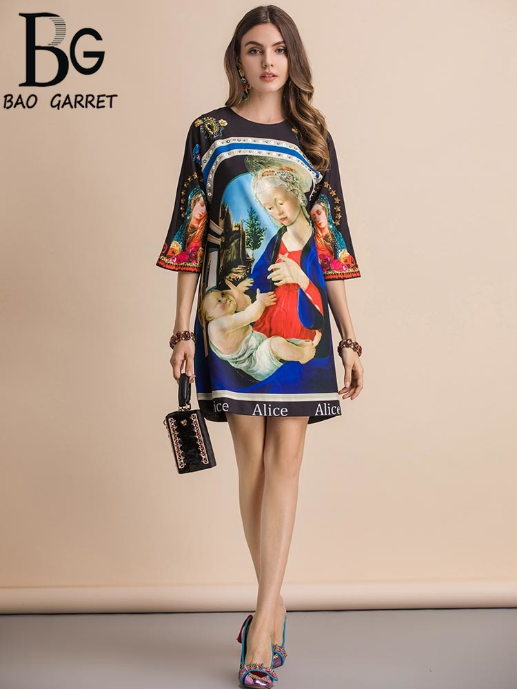 Baogarret New Fashion Runway Summer Dress Women 39 s Three Quarter Sleeve Gorgeous Beading Character Print Loose Mini Dresses in Dresses from Women 39 s Clothing
