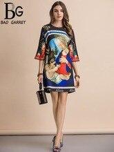 Baogarret New Fashion Runway Summer Dress Womens Three Quarter Sleeve Gorgeous Beading Character Print Loose Mini Dresses