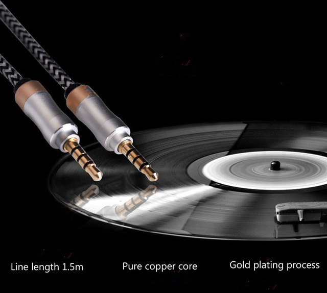 1m Nylon Aux Cable 3.5mm to 3.5 mm Male to Male Jack Auto Car Audio Cable Gold Plug line Cord For Iphone 7 Xiaomi Speaker