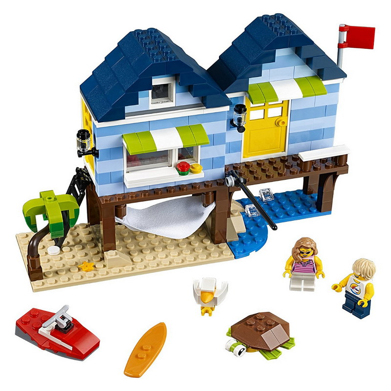 24014 295Pcs Creative Variable City Series 3 in 1 Beachside Vacation House Building Block Toys Children Gifts 31063