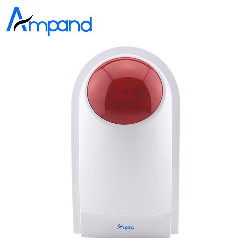 imágenes para Ampand 433 MHz Estroboscópica Sonido 125dB Sirena de Flash Inalámbrico Sirena del Estroboscópico Al Aire Libre Alarma de Flash Para G18 G19 W1 W2 Sistemas de Alarma X1