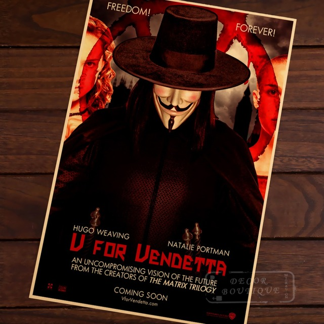 V for vendetta story guy fawkes mysterious figures vintage retro poster decorative diy wall canvas sticker