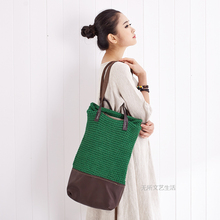 Freies verschiffen Echtes leder patchwork flüssigkeit linie handgemachte gestrickte frauen handtasche häkeln doppelt schulter handtasche