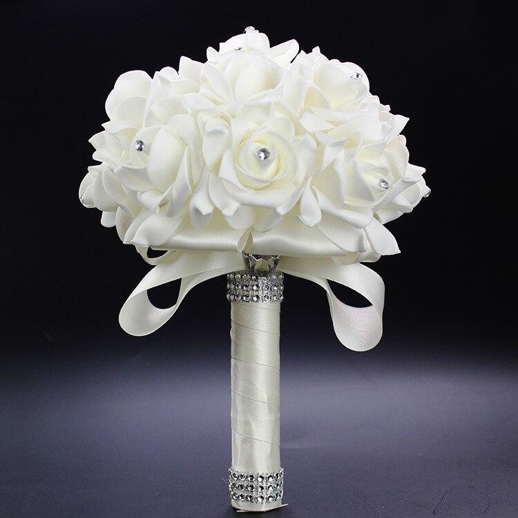 2019 Cheap Prom Baby Blue Flower Brooch Wedding Bouquet De Mariage Wedding Bouquets PE Rose Diamond Ribbon Bouquet AA30
